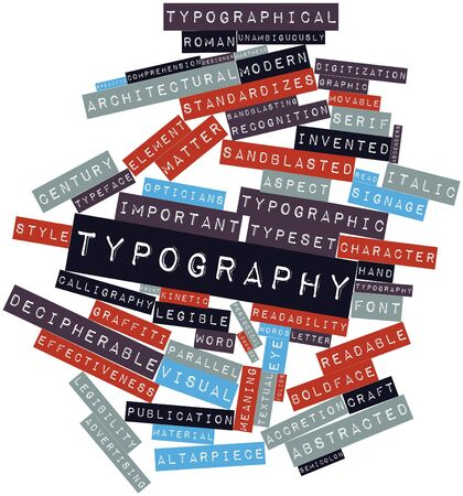 masthead: Abstract word cloud for Typography with related tags and terms Stock Photo