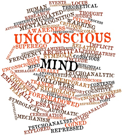 posit: Abstract word cloud for Unconscious mind with related tags and terms Stock Photo