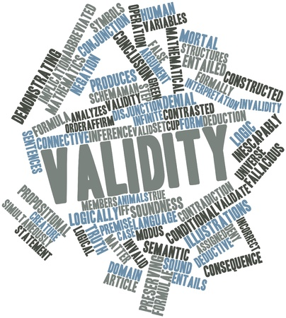 Abstract word cloud for Validity with related tags and terms Stock Photo