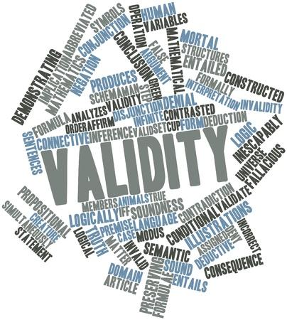 validez: Nube palabra abstracta para la validez de las etiquetas y t�rminos relacionados