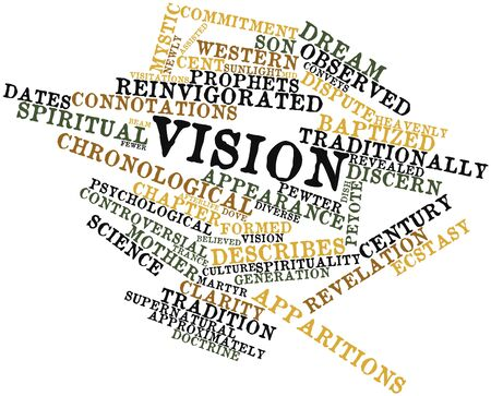 fewer: Abstract word cloud for Vision with related tags and terms Stock Photo