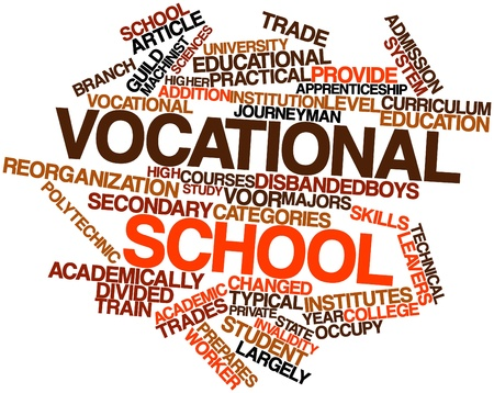 orientated: Abstract word cloud for Vocational school with related tags and terms Stock Photo