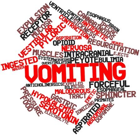 vomito: Nube palabra abstracta para Vómitos con etiquetas y términos relacionados Foto de archivo