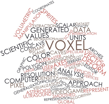 Abstract word cloud for Voxel with related tags and terms