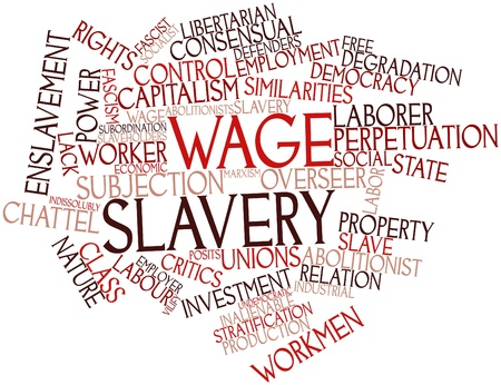 libertarian: Abstract word cloud for Wage slavery with related tags and terms
