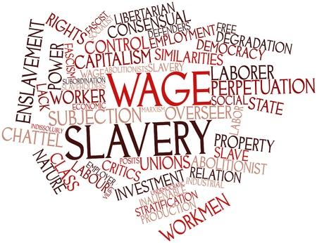 relaciones laborales: Nube palabra abstracta para la esclavitud salarial con las etiquetas y t�rminos relacionados
