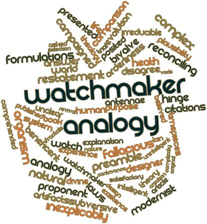 satisfactory: Abstract word cloud for Watchmaker analogy with related tags and terms