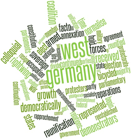 continuation: Abstract word cloud for West Germany with related tags and terms Stock Photo