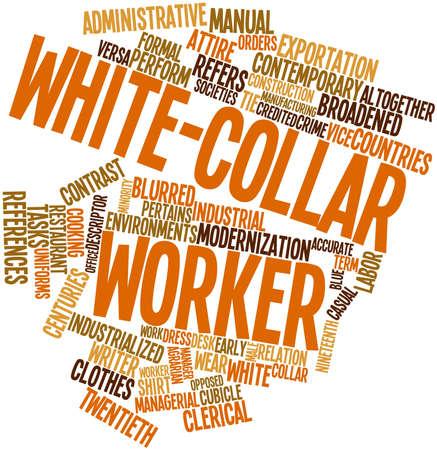 relaciones laborales: Nube palabra abstracta para los trabajadores de cuello blanco con etiquetas y t�rminos relacionados