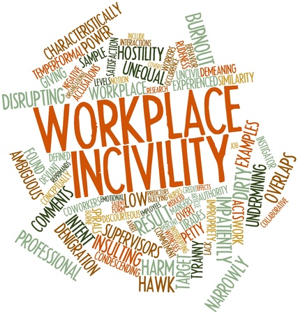 intent: Abstract word cloud for Workplace incivility with related tags and terms