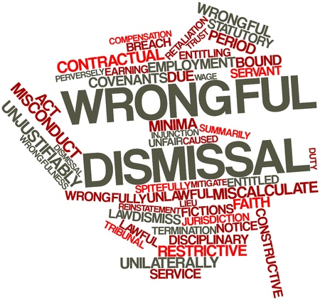 to sue: Abstract word cloud for Wrongful dismissal with related tags and terms Stock Photo