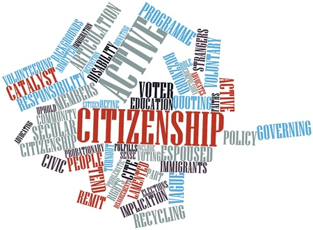 turnout: Abstract word cloud for Active citizenship with related tags and terms Stock Photo