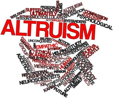 altruism: Nube palabra abstracta por altruismo con las etiquetas y términos relacionados