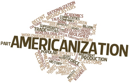 Abstract word cloud for Americanization with related tags and terms Banco de Imagens