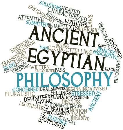 legitimate: Abstract word cloud for Ancient Egyptian philosophy with related tags and terms Stock Photo