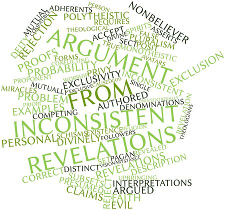 argument: Abstract word cloud for Argument from inconsistent revelations with related tags and terms Stock Photo