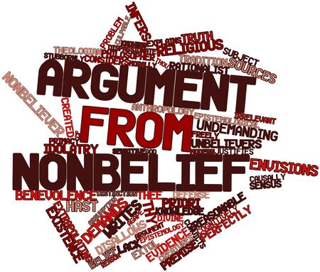 epistemology: Abstract word cloud for Argument from nonbelief with related tags and terms Stock Photo