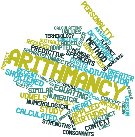 Abstract word cloud for Arithmancy with related tags and terms Stock Photo - 17319599