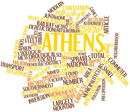 stadia: Abstract word cloud for Athens with related tags and terms