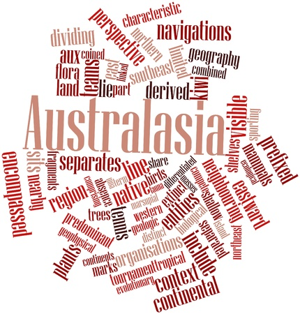 coined: Abstract word cloud for Australasia with related tags and terms Stock Photo
