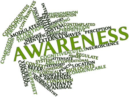 contributes: Abstract word cloud for Awareness with related tags and terms Stock Photo