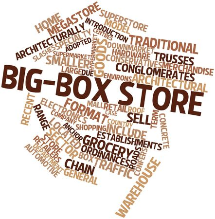 specialty store: Abstract word cloud for Big-box store with related tags and terms
