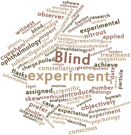 dataset: Abstract word cloud for Blind experiment with related tags and terms Stock Photo