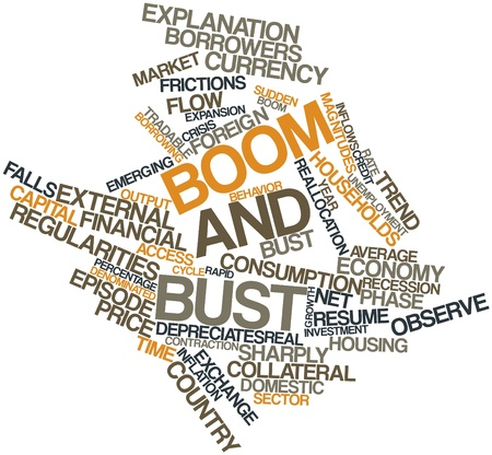 emphasizes: Abstract word cloud for Boom and bust with related tags and terms Stock Photo