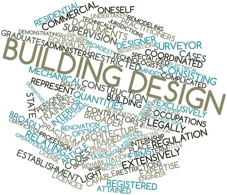 undertaken: Abstract word cloud for Building design with related tags and terms Stock Photo