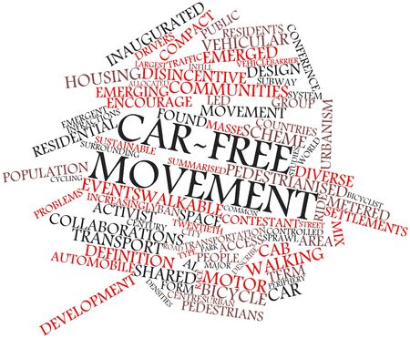 increasingly: Abstract word cloud for Car-free movement with related tags and terms Stock Photo