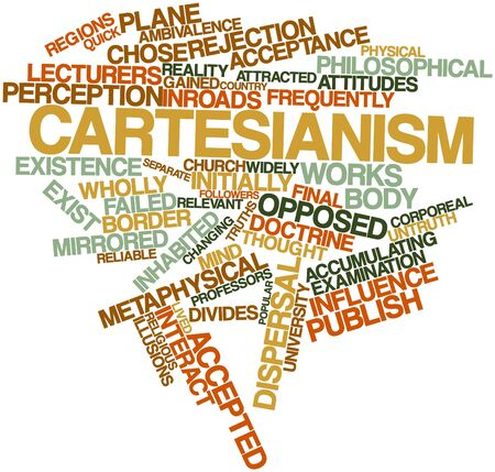 ambivalence: Abstract word cloud for Cartesianism with related tags and terms Stock Photo