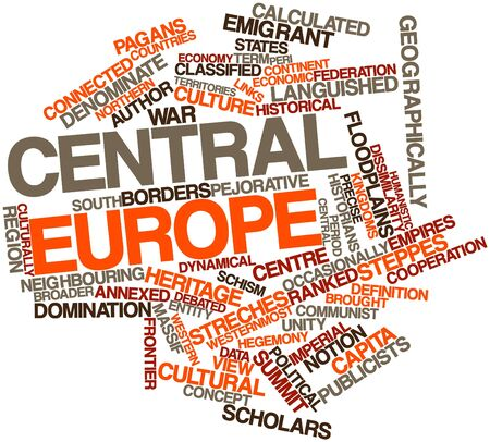 broader: Abstract word cloud for Central Europe with related tags and terms Stock Photo