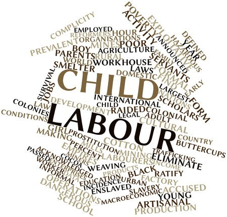 macroeconomic: Abstract word cloud for Child labour with related tags and terms Stock Photo