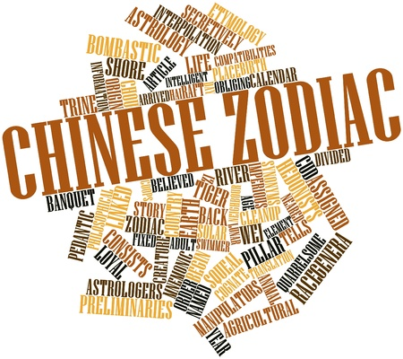 cognate: Abstract word cloud for Chinese zodiac with related tags and terms