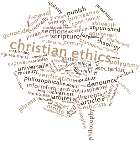 Abstract word cloud for Christian ethics with related tags and terms