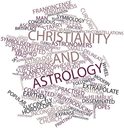 disillusionment: Abstract word cloud for Christianity and astrology with related tags and terms