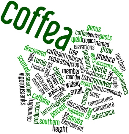 discarded: Abstract word cloud for Coffea with related tags and terms Stock Photo