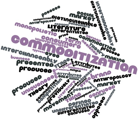 Abstract word cloud for Commoditization with related tags and terms photo