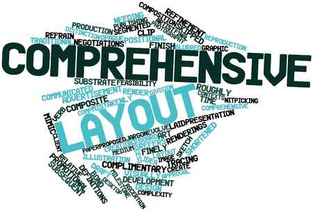 incorporate: Abstract word cloud for Comprehensive layout with related tags and terms Stock Photo