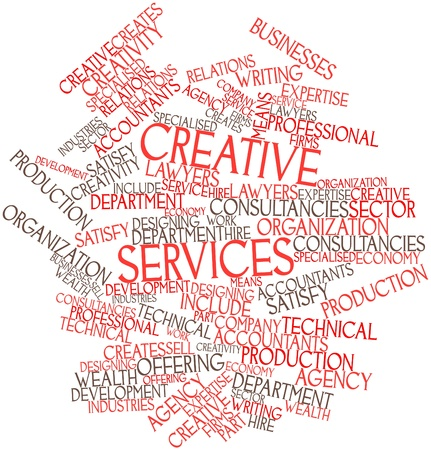 specialised: Abstract word cloud for Creative services with related tags and terms