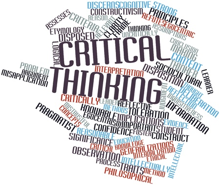 Abstract word cloud for Critical thinking with related tags and terms photo