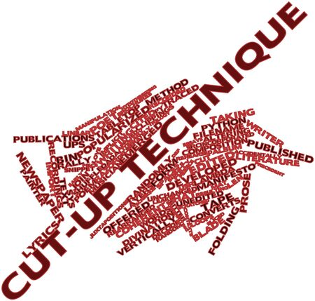 implicit: Abstract word cloud for Cut-up technique with related tags and terms