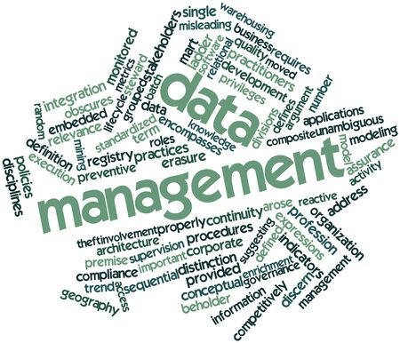 Abstract word cloud for Data management with related tags and terms