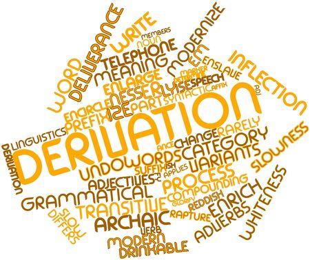 délivrance: Nuage de mot abstrait pour dérivation avec des étiquettes et des termes connexes