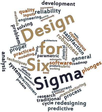 Abstract word cloud for Design for Six Sigma with related tags and terms
