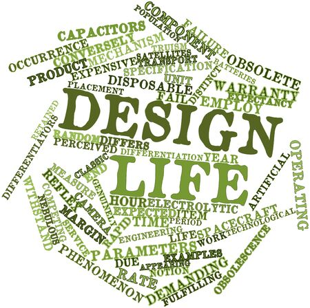 factors: Abstract word cloud for Design life with related tags and terms