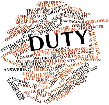 rushing: Abstract word cloud for Duty with related tags and terms