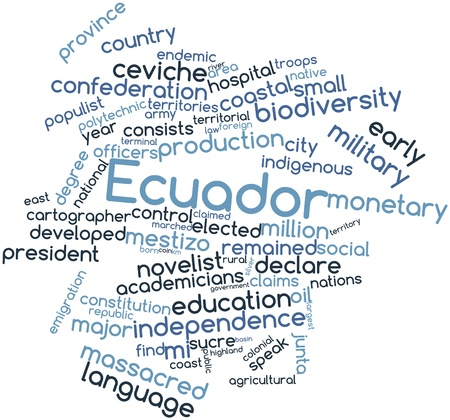 cartographer: Abstract word cloud for Ecuador with related tags and terms Stock Photo