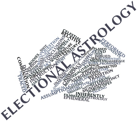proponents: Abstract word cloud for Electional astrology with related tags and terms