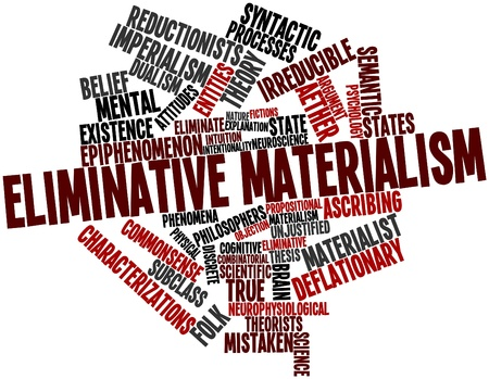 explanatory: Abstract word cloud for Eliminative materialism with related tags and terms Stock Photo